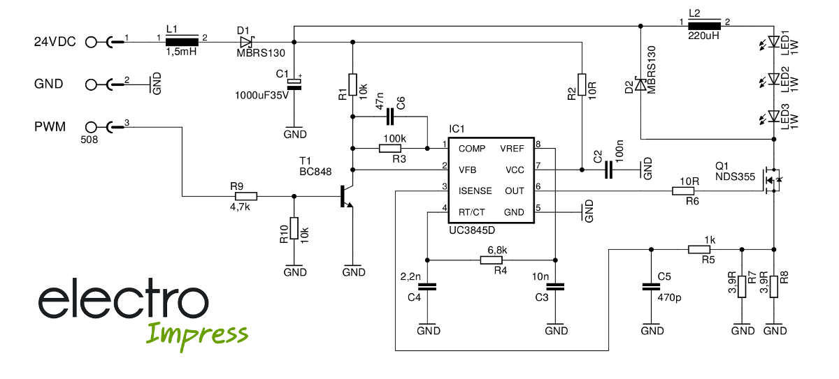UC3845 blokkdiagram